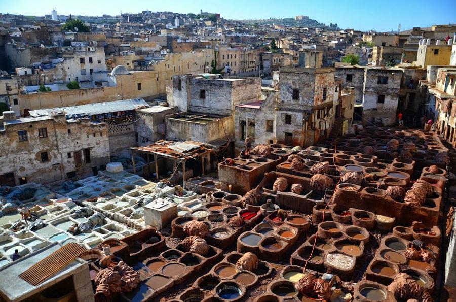 tannerie à Fès au Maroc